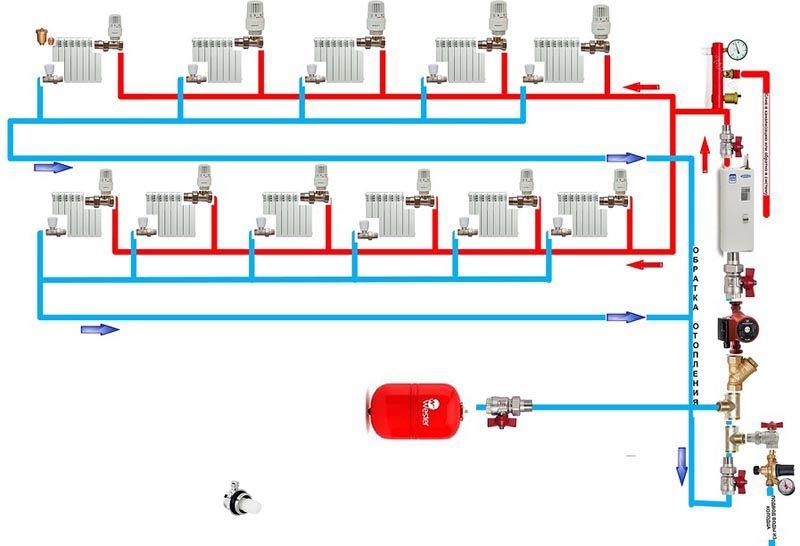 Схема отопления на двух этажах с принудительной циркуляцией