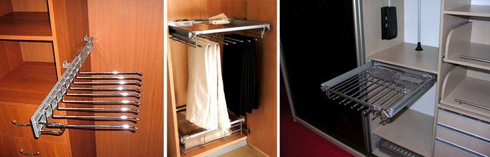 Для оснащения мебели современные производители предлагают держатели брюк, подъемные механизмы и другие функциональные дополнения