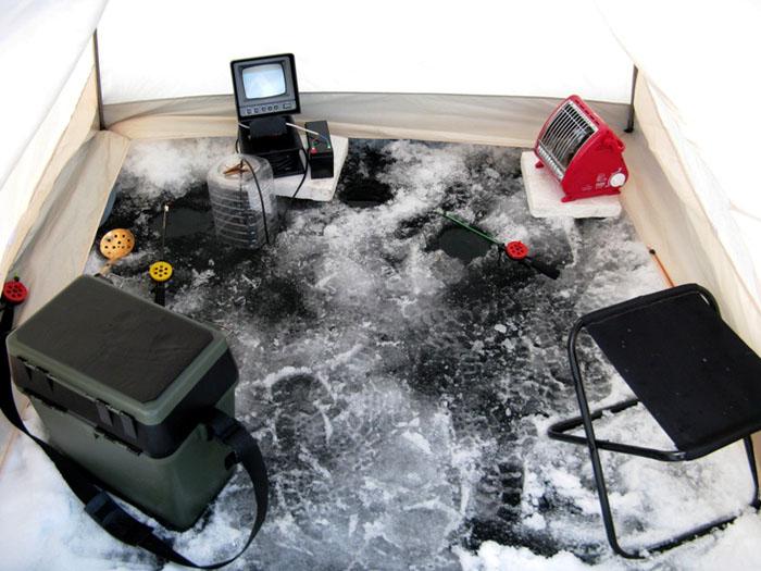 Нагрев палатки газовым обогревателем на зимней рыбалке