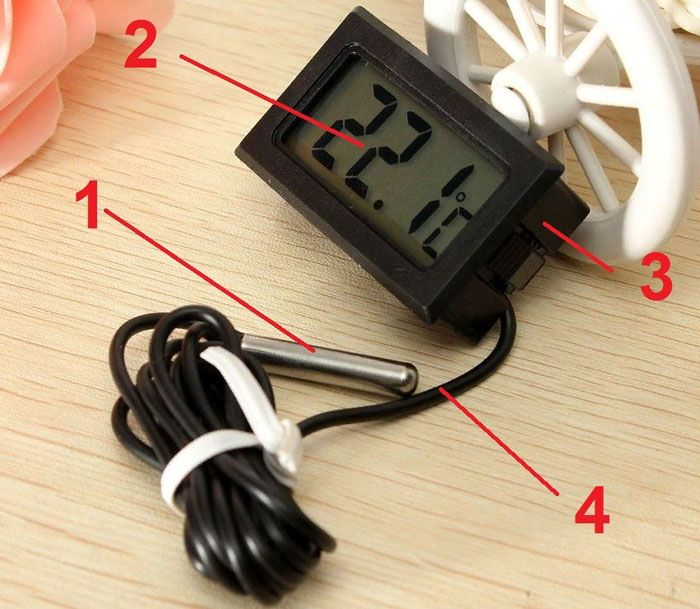 Типовой электронный термометр с выносным датчиком в собранном состоянии