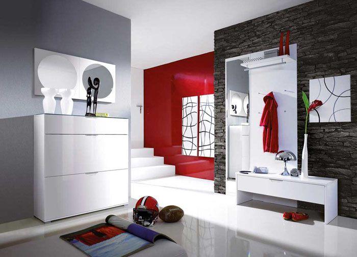 Минимализм требует много белого с контрастными штрихами серого, черного и красного