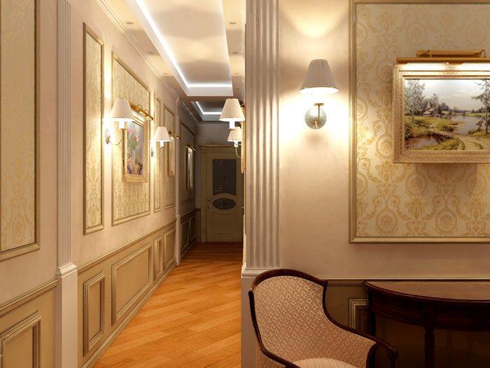 Если в вашем холле висят картины или панно – их подчеркнет подсветка