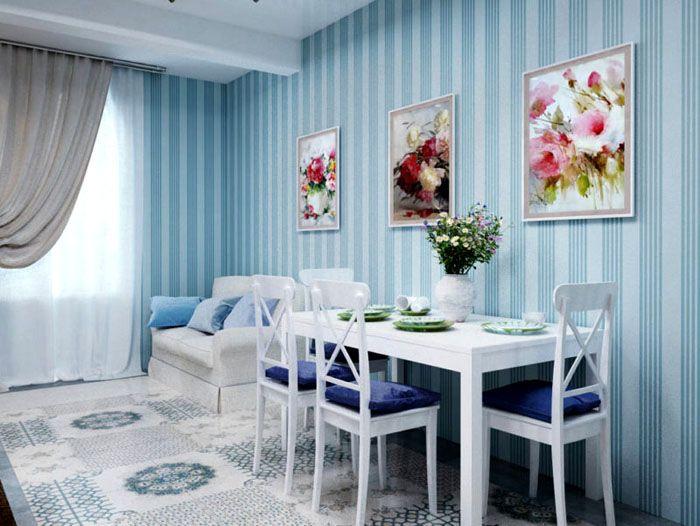Прекрасным дополнением к голубому цвету будут акценты в виде картин в розовых оттенках