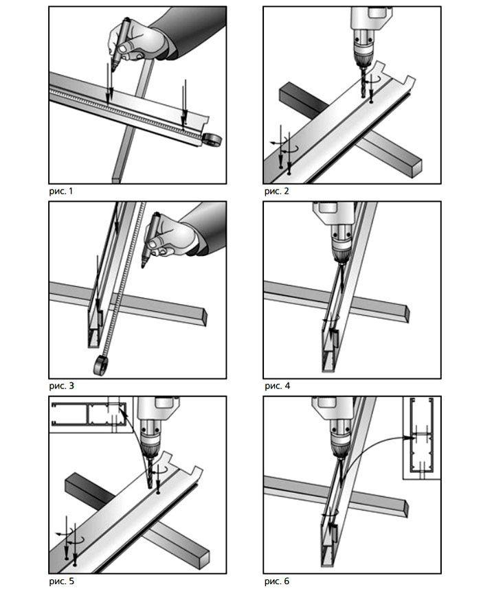 Схема разметки крепёжных отверстий в направляющих