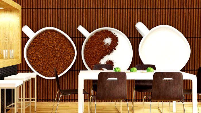 Фотообои с чашечками кофе прекрасно вписываются в интерьер