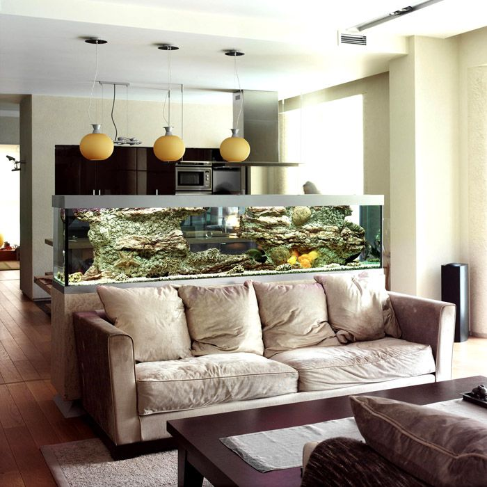 Зонирование пространства при помощи аквариума