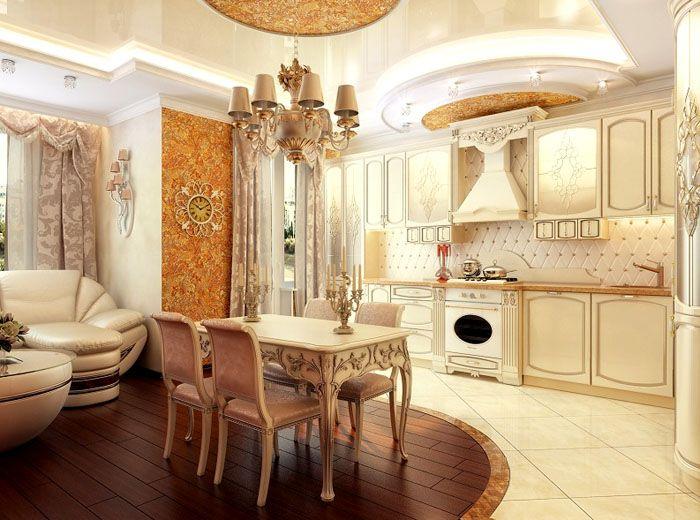 Кухня студия в классическом стиле картинки