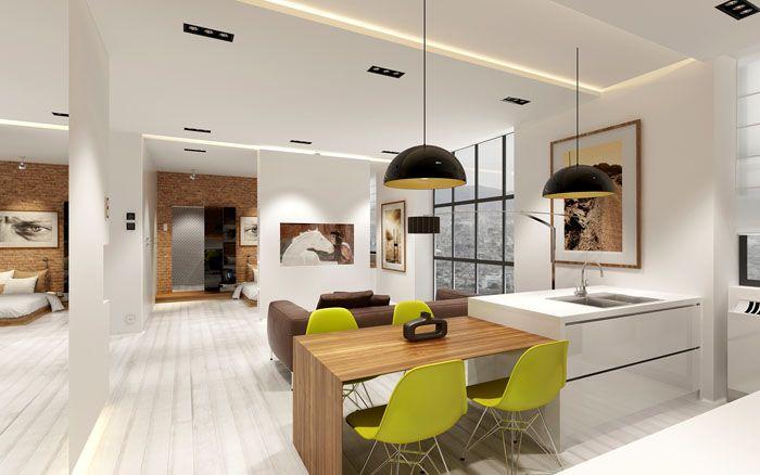 Картины и яркий цвет стульев использованы в виде акцентов при оформлении квартиры