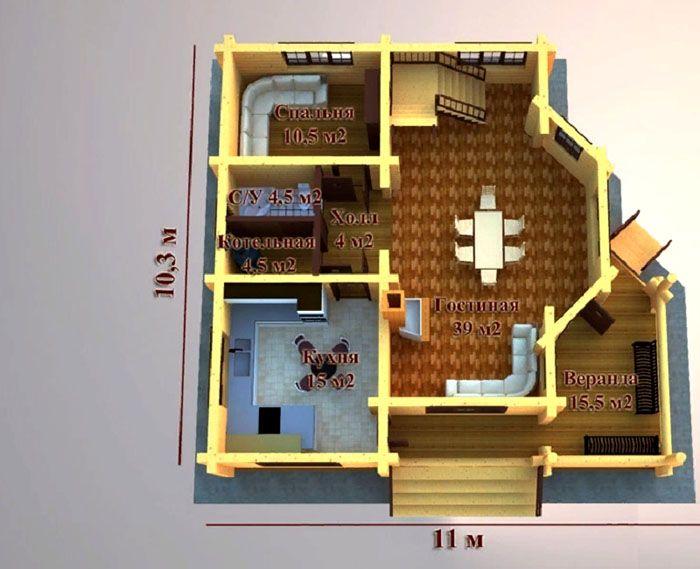 План одноэтажного дома на 100 кв. м, сделанного из бруса