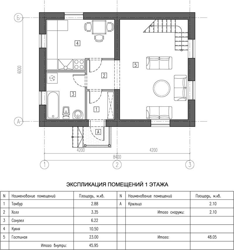 По такому проекту компактный дом из пеноблоков до 100 кв. м можно построить за один летний сезон