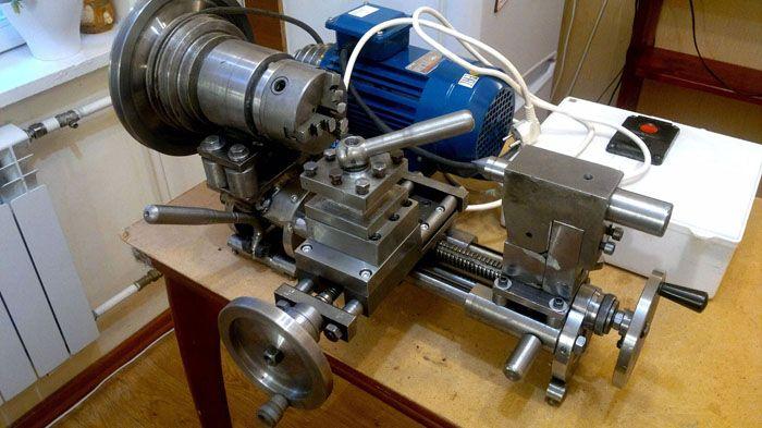 Это фото токарного станка по металлу наглядно демонстрирует высокое качество самоделки