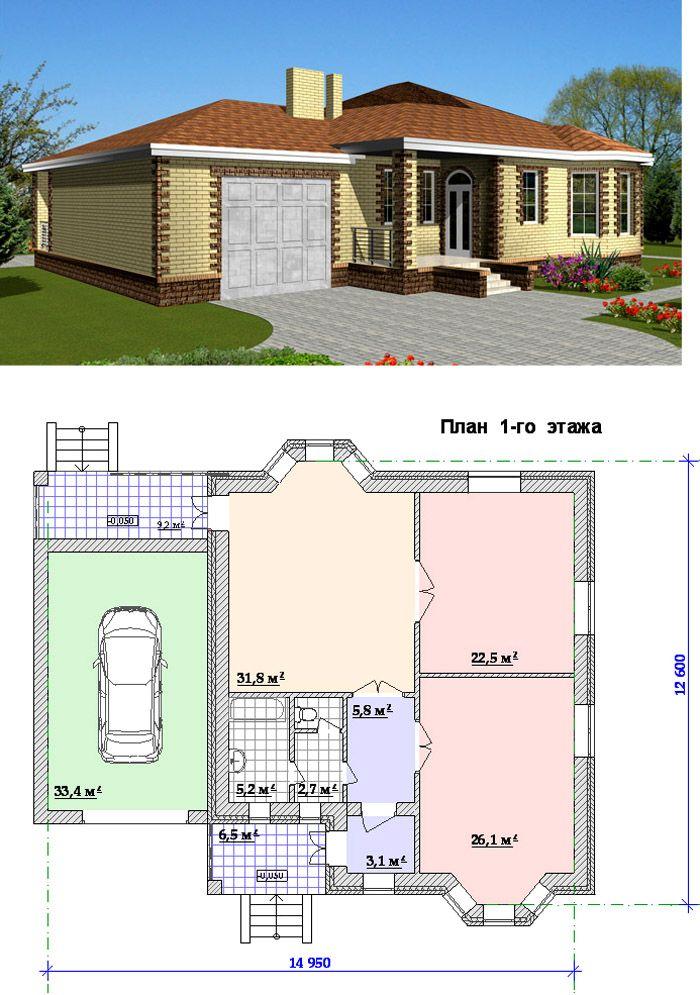 Такое размещения гаража помогает хорошо изолировать жилую зону от шума и других неблагоприятных воздействий