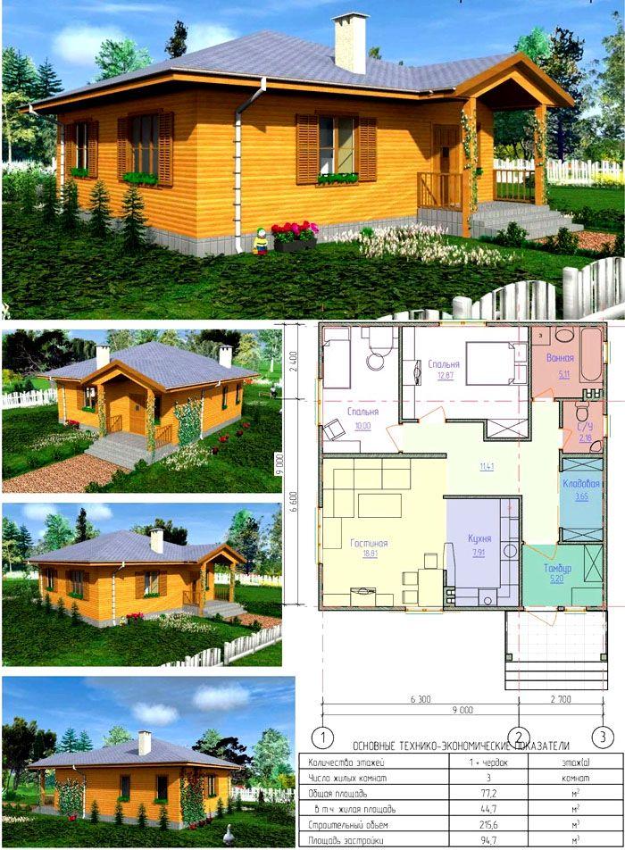 Комбинированное представление проекта дома на 100 кв. м
