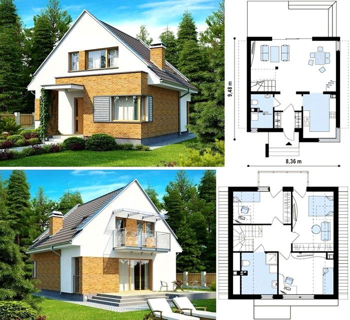 Проект одноэтажного дома до 80 кв. м с мансардой