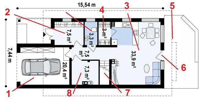 Проект одноэтажного дома с общей площадью около 100 кв. м