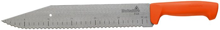 Профессиональный инструмент для резки – широкий длинный нож из углеродистой стали. Длина лезвия – 35 сантиметров, рукоятка из прочного пластика очень удобна в работе