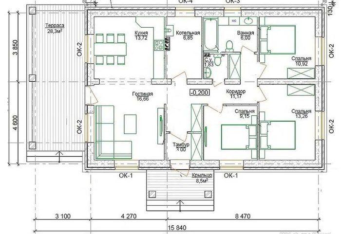 Приведенные материалы удобнее по сравнению с чертежами проектов одноэтажных домов, которые созданы в соответствии со стандартными нормами
