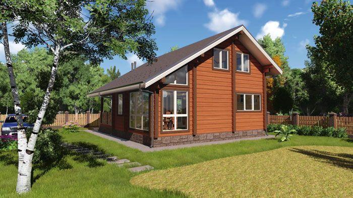 Внешний вид деревянного дома хорошо соответствует природному окружению