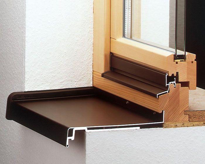 Лёгкий внешний подоконник из алюминия окрашен в коричневый цвет
