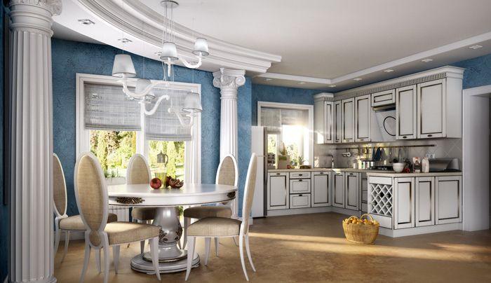 Кухня, оформленная в греческом стиле