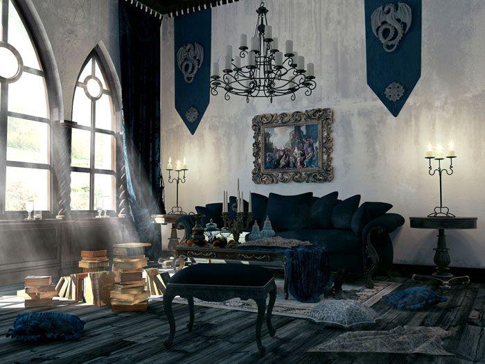 Вот так выглядит гостиная в готическом стиле