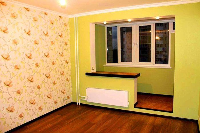 Гостиная с присоединённым балконом