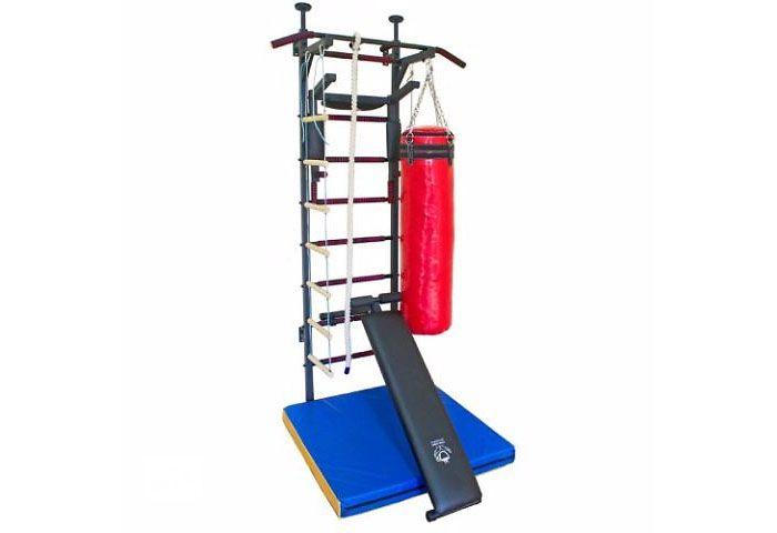 Шведская стенка усиленная «Fitness Pro Premium New» с боксёрской грушей, скамьёй для жима и пресса, а также канатом и верёвочной лестницей