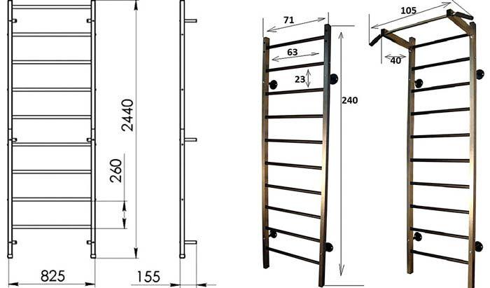 Вариант эскиза с указанием размеров при самостоятельном изготовлении шведской стенки