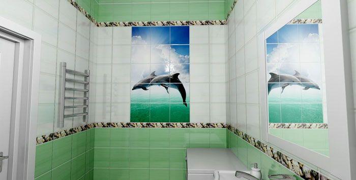 Ванная комната с 3D картинкой