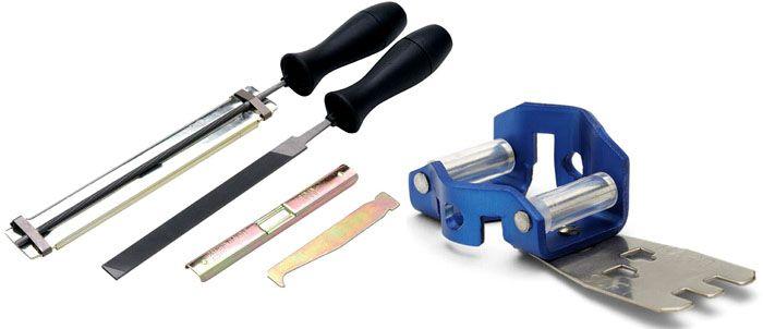 Напильники для ручной заточки продаются в наборах, в состав которых входят простейшие приспособления для выполнения работ