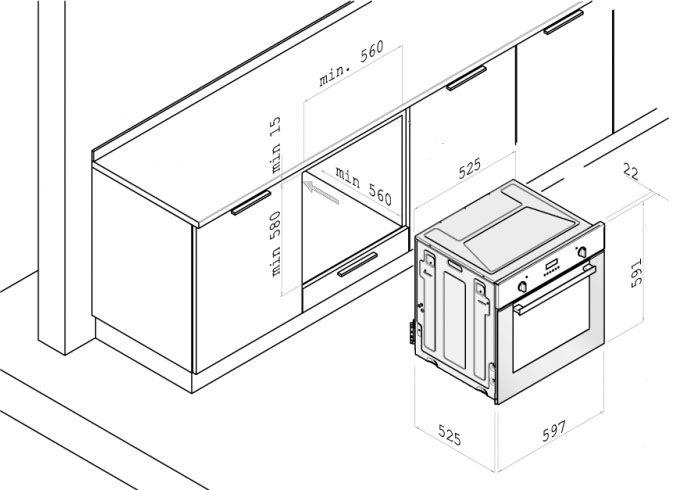 Схема размещения встраиваемого духового шкафа стандартного размера во внутреннем пространстве каркаса кухонной мебели