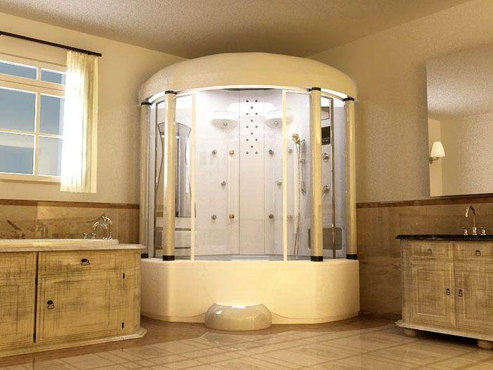 Для установки большой душевой кабины с ванной требуется достаточно много свободного места