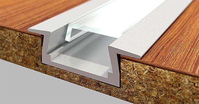 Вариант укладки врезного профиля в мебельную плиту, изготовленную из древесно-стружечных плит