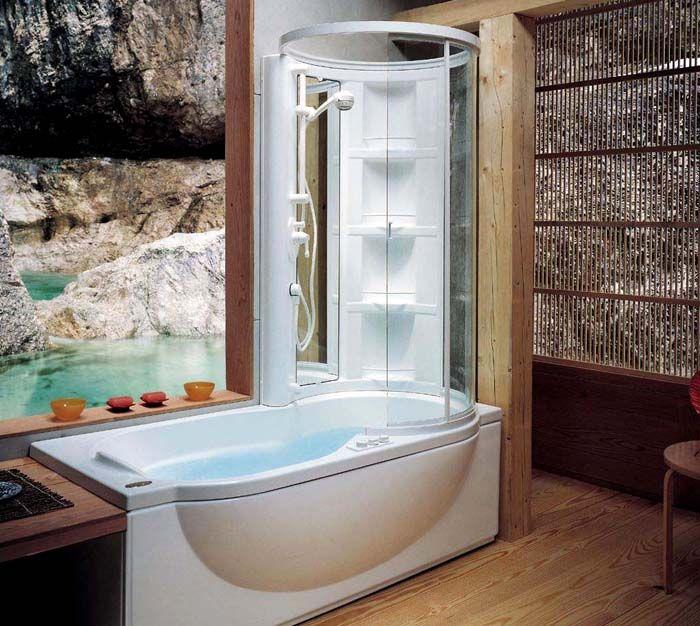 Гидробокс с ванной визуально не занимает много объёма, но при этом полностью функционален