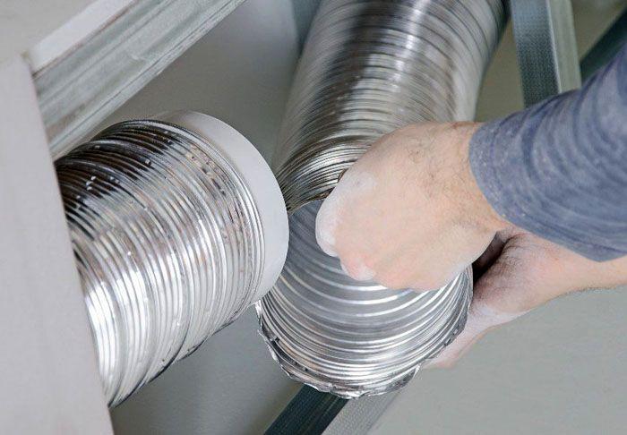 Соединение металлической гофры при помощи специальной пластиковой вставки