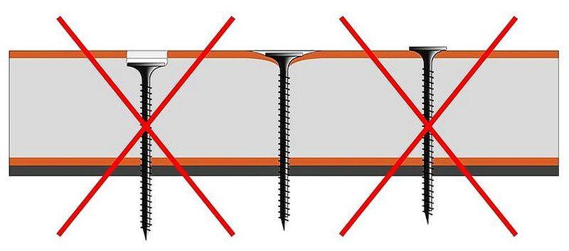 Все крепежные элементы, головки саморезов следует утопить в поверхности гипсокартона