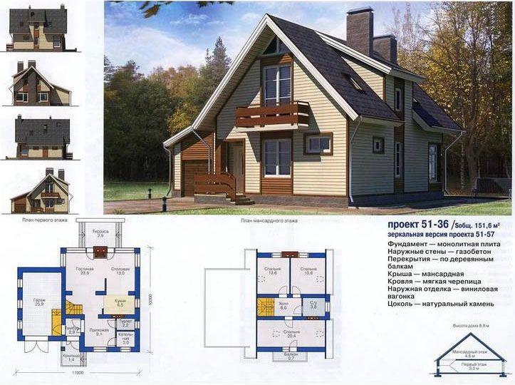Проект дома с мансардой № 51-36 общей площадью 151,6 м2