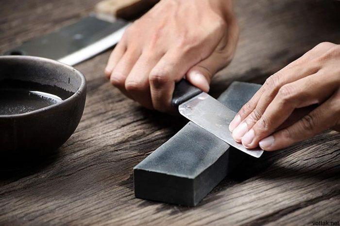 Заточка кухонного ножа с использованием бруска