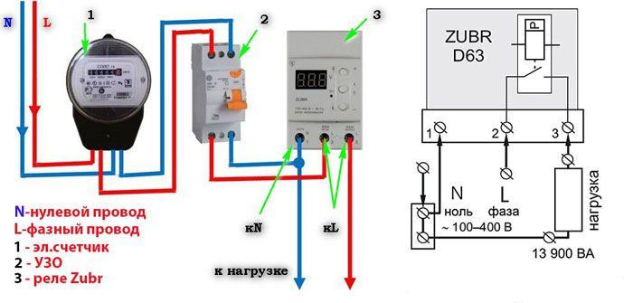 Схема подключения однофазного реле контроля напряжения серии «ZUBR» (RBUZ)
