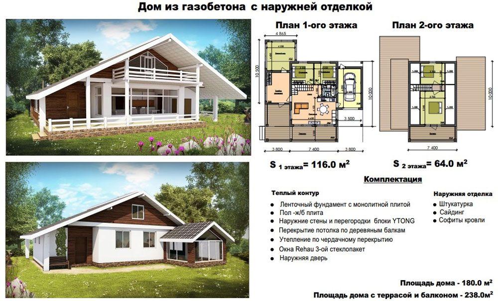 Дом с навесом для автомобиля общей площадью 180 м2