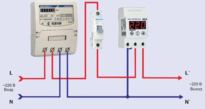 Схема включения в однофазную сеть электроснабжения квартиры или дома