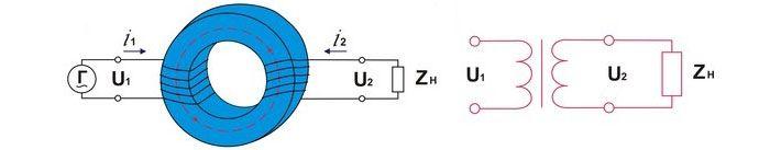 Электронная и принципиальная схема тороидального трансформатора