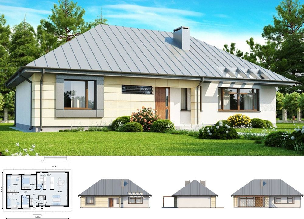 Проект одноэтажного дома из газобетона № as-3-124