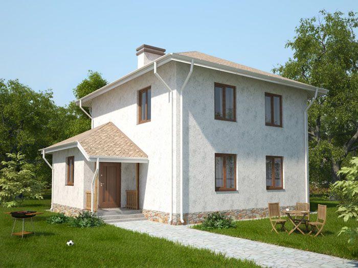 Проект дома 10×10 м, двухэтажный из газобетона