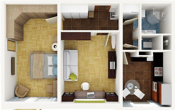 Вариант плана двухкомнатной квартиры, которая ранее была однокомнатной