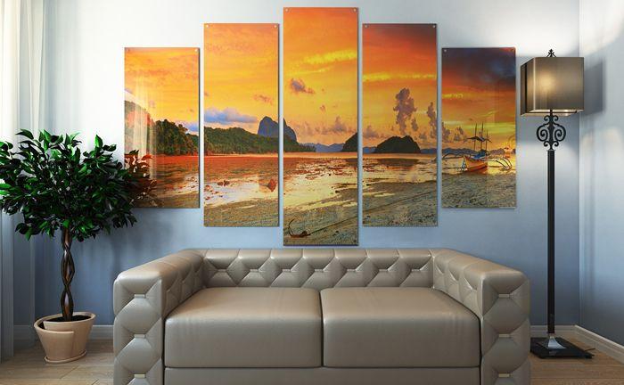 Если вы хотите оставить себе на память закат на берегу океана, который сфотографировали в отпуске, сделайте триптих и окно в чудесный мир будет украшать вашу комнату