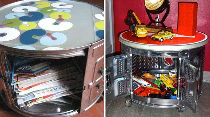 Так барабан превращается в шкафчик или столик-тумбочку