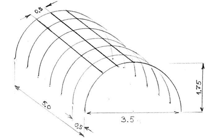 Примерная схема расположения дуг с учётом их размеров