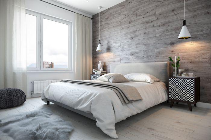 У изголовья кровати размещается акцентная стена. Здесь может быть размещена яркая картина или композиция из натуральных материалов, например, дерева