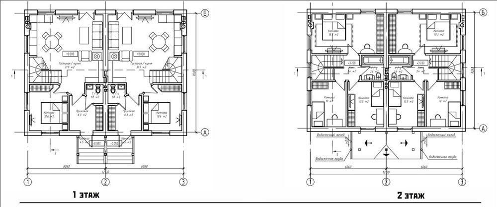 Поэтажная планировка таунхауса площадью 100 м²